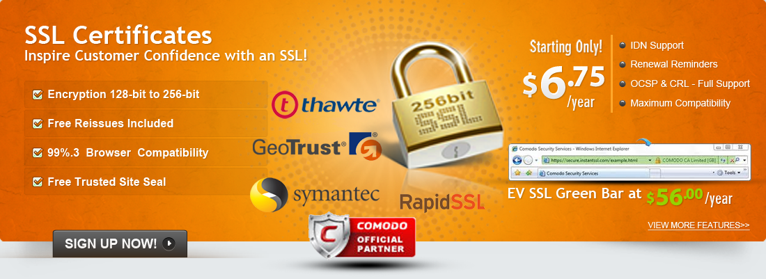 Inspire Customer Confidence With an 256-bit Encryption SSL Certificates!