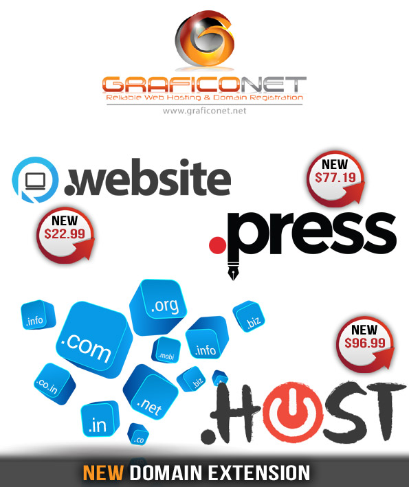 graficonet new new .host .press and .website domain_extensions